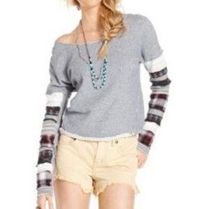 We the Free People Patch Up Sleeve Pullover top